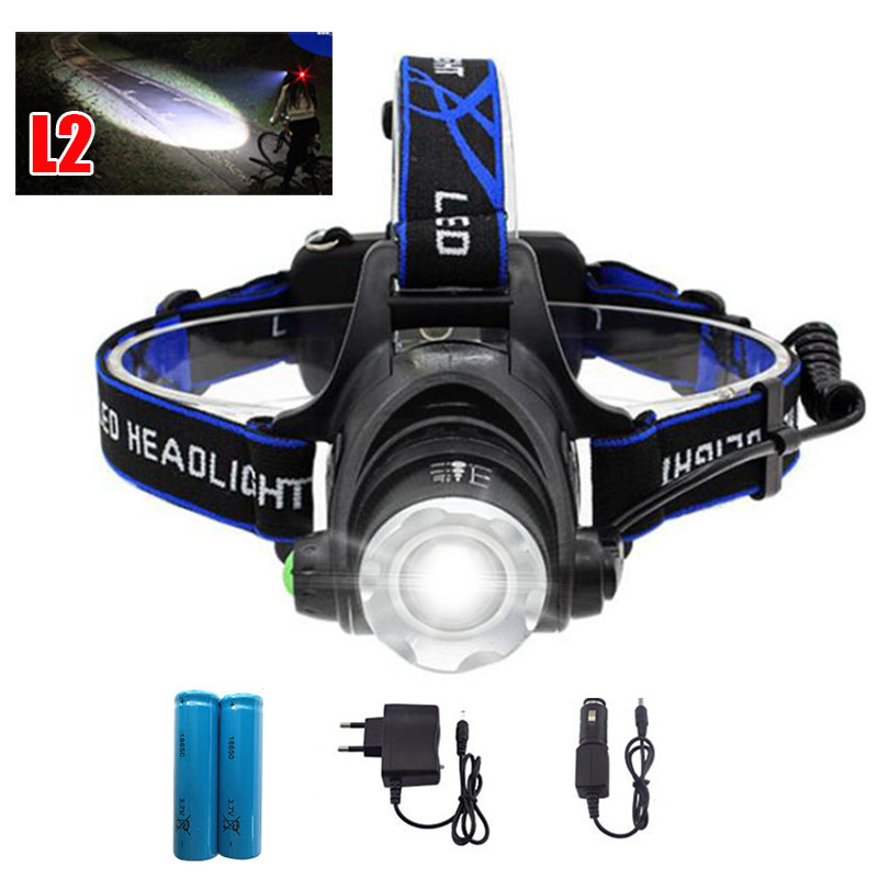 купить XM L2 led headlamp frontal head flashlight torch powerful headlight head light lamp +18650 battery +AC charger +car charger