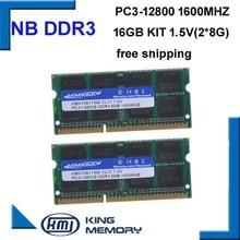 KEMBONA pc portable SODIMM, vitesse rapide, ram DDR3 16 go, kit de 2 pièces ddr3 8 go, 1600MHZ, PC3 12800S, 1.5V, ram broches