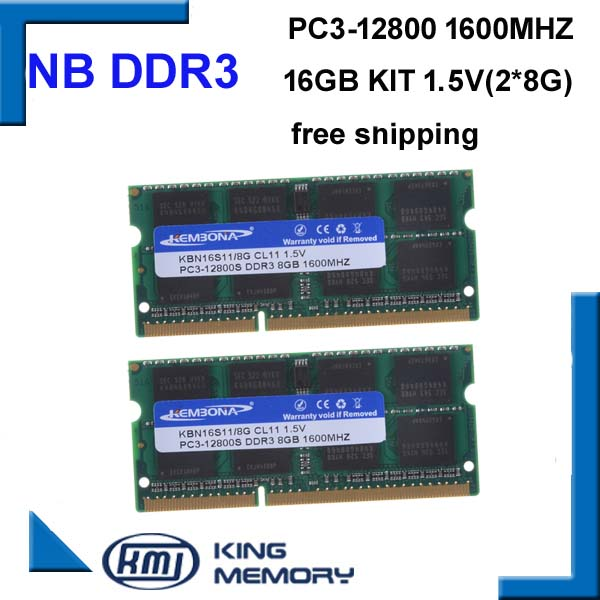 KEMBONA vitesse rapide sodimm ordinateur portable ram DDR3 16 GO (kit de 2 pièces ddr3 8 go) 1600 MHZ PC3 12800 S 1.5 V 204pin mémoire ram