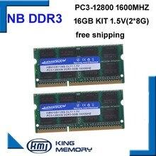 Kembona velocidade rápida sodimm portátil ram ddr3 16gb (kit de 2 pces ddr3 8gb)1600mhz pc3 12800s 1.5v 204pin memória ram