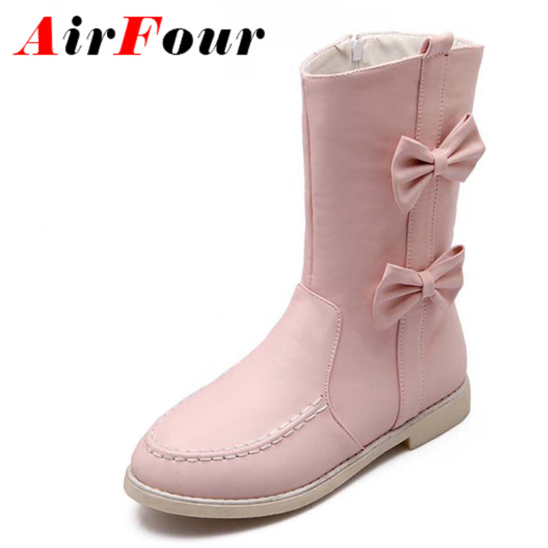 ФОТО Airfour Bow Ladies Shoes Women Flats Half Boots Warm Winter Flats Round Toe Shoes Woman Platform Boots Pink Black White Shoes