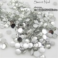 1000pcs 2 mm - 6 mm Mixed Size charming beautiful Crystal 14 facet round diamond sparkling acrylic nail art decoration N01