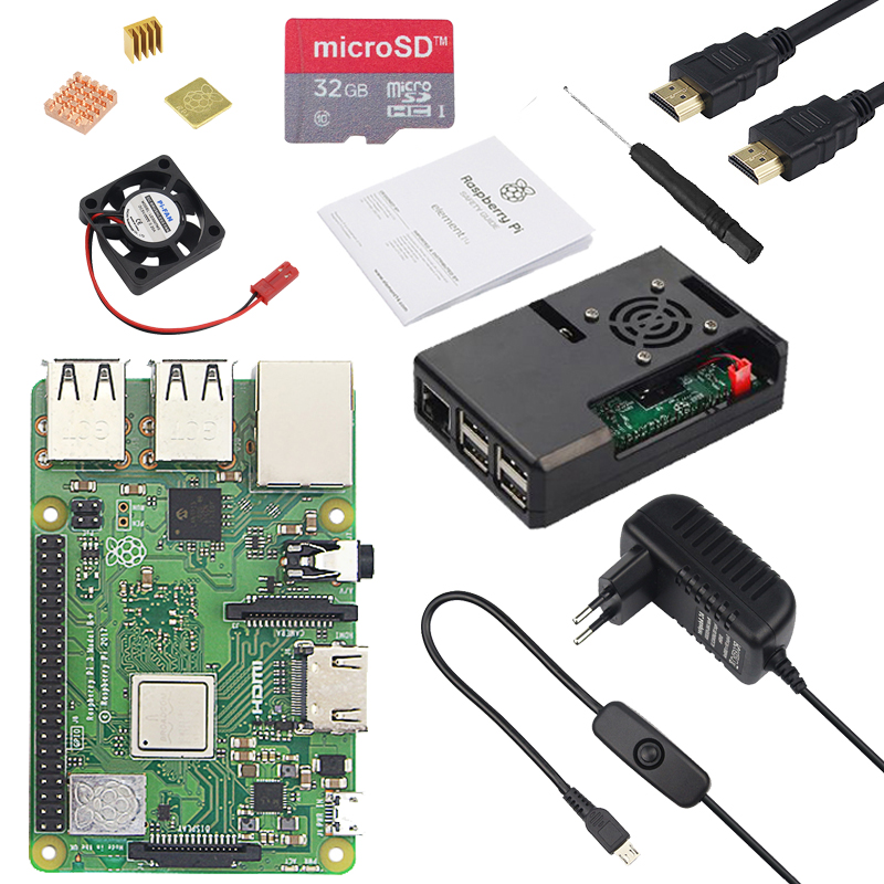 2018 Raspberry Pi 3 Model B+ ( B Plus ) + ABS Case + CPU Fan + 3A Power with ON/OFF Switch + Heat Sink for Raspberry Pi 3B+ цены