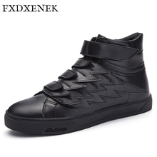 FXDXENEK New 2017 High Quality Men Leather Shoes Fashion High top Men's Casual Shoes Waterproof Man hook$Loop Brand Shoes Black