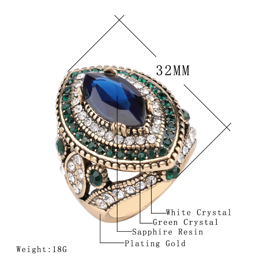 Luxury-Big-Sapphire-Jewelry-Vintage-Wedding-Rings-For-Women-Plating-Gold-Mosaic-Green-Crystal-2016-New
