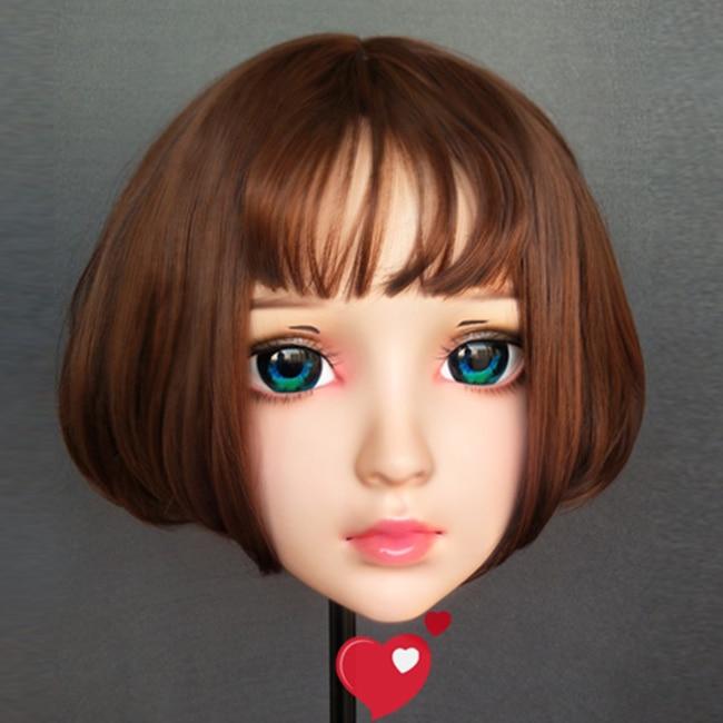 Useful zhu-02 female Sweet Girl Resin Half Head Kigurumi Bjd Mask Cosplay Japanese Anime Role Lolita Mask Crossdress Doll Mask