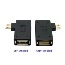 CYDZ 2pcs 90 Degree Left & Right Angled Micro USB 2.0 OTG Host Adapter with USB Power for Cell Phone & Tablet 1pcs right 90 degree angled micro usb male host otg cable w power cable for tablet cellphone and external hard drive
