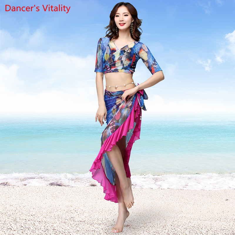 034ae6b6cc87 Girls Belly Dance Costumes Women Printing Suit (Half Sleeves Top+ ...