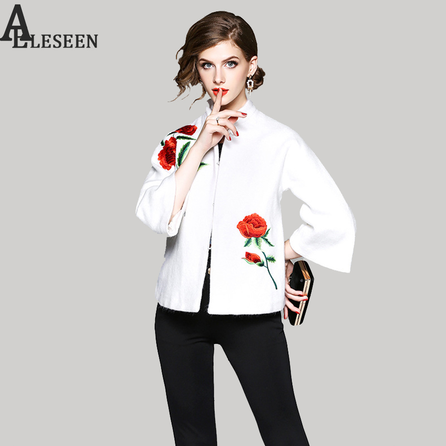 Vintage Wool Jacket 2017 European New Winter 3/4 Sleeve Luxury Rose Embroidery White & Black Elegant Women Plus size jacket