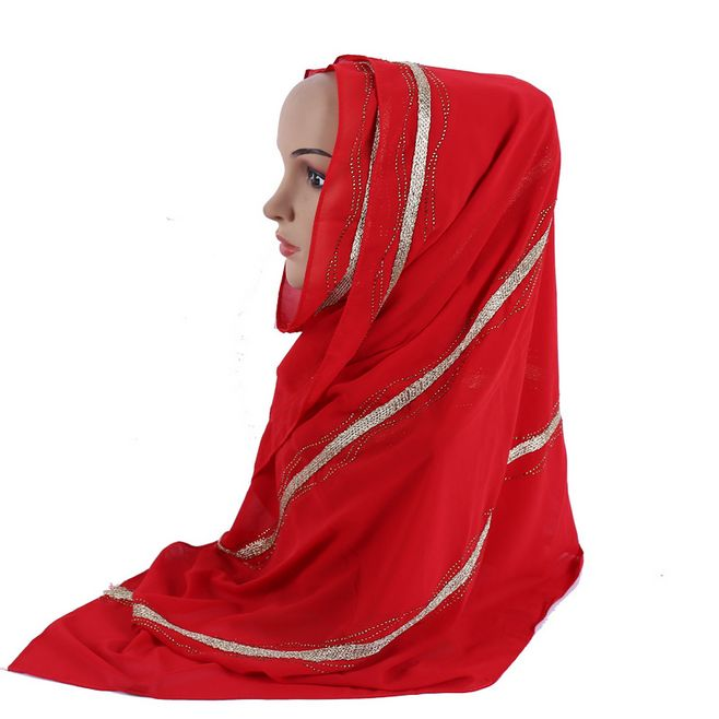 Silk Feeling Chiffon Muslim Hijab Scarf Women Glitter Islamic Shawl Luxury Strip Rhinestone Ornamental Wraps Sequins Muffler