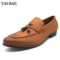 Loafers Brown Big Size 44 Best Autumn Genuine Martin Platform Female Marten Leather Low Heel Ankle Shoe with tassel for men