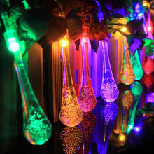 NEW 2.3M 20LED 3xAA batteries Waterproof Crystal Bubble Water Drop String Light ,Garden,Wedding, Christmas Party lamp