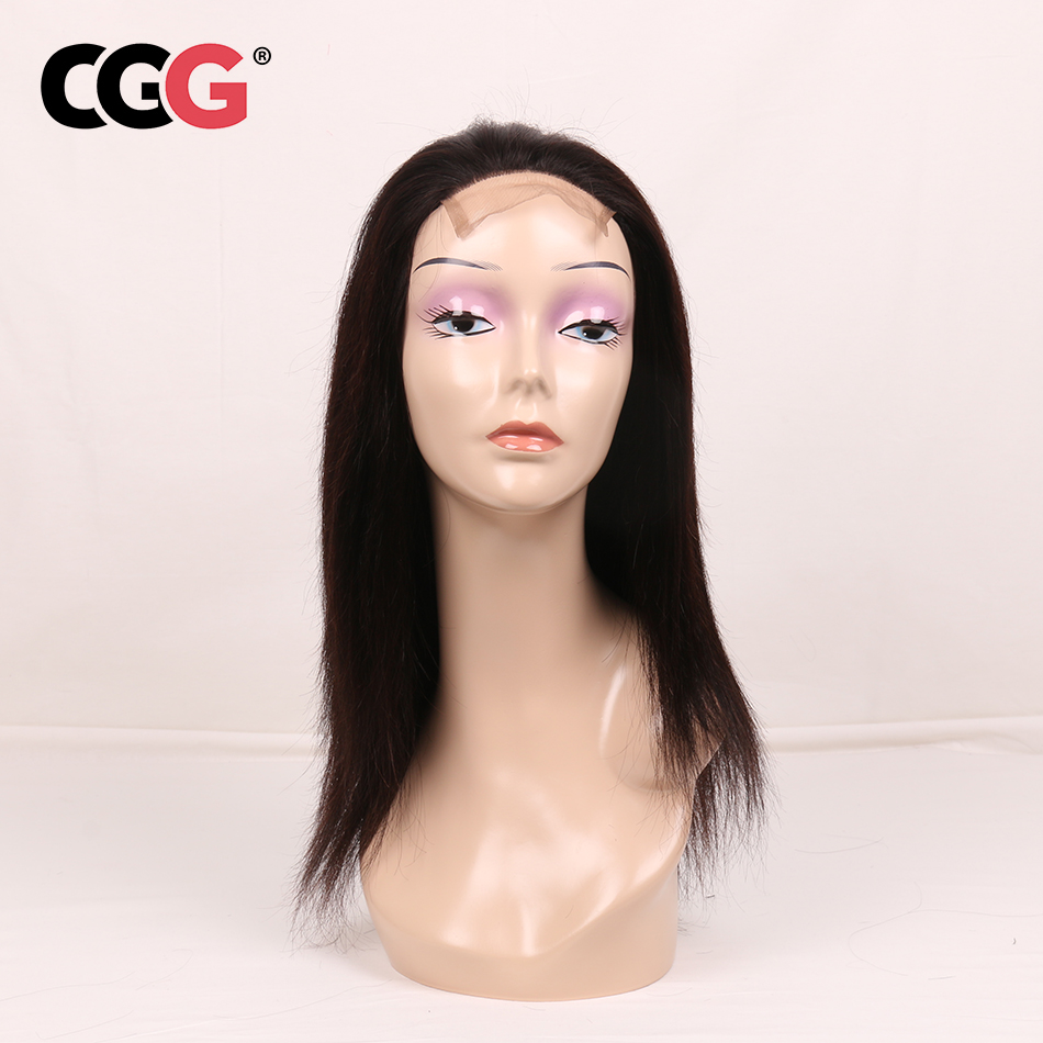 CGG Lace Frontal Straight Human Hair Wigs With Baby Hair Non-Remy Human Indian Hair For Black Women Natural Color Average Size
