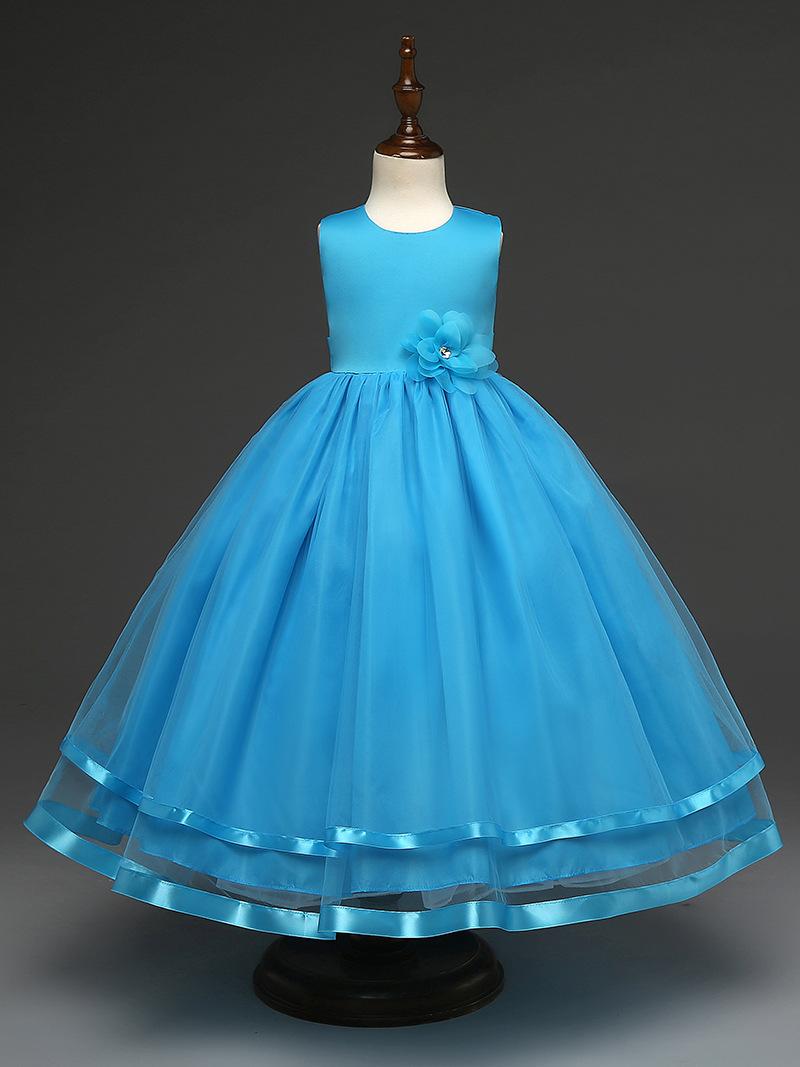 White blue pink princess birthday ball gown wedding dresses children ...