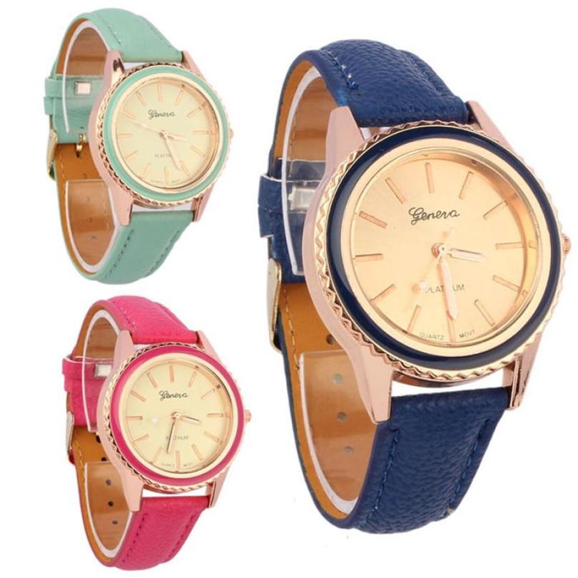 Durable 2016 Fashion watch women Vogue Women's Men's Unisex Faux Leather Analog Quartz Wrist Watch relogio masculino