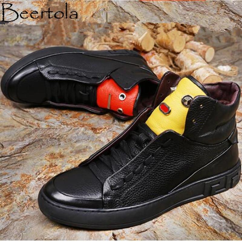 Preto Couro Monstro Apartamentos Design Decoração Sapatos Populares Novo Rendas Metal Top Beertola De Homens Moda Até Zapatos Dos Alta Hombre Botas Pequeno q1OWt