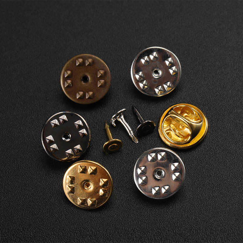 50 set/lote oro rodio clavos de cobre corbata solapa Pin Back embrague Scatter mariposa broche Squeeze Badge Holder DIY joyería