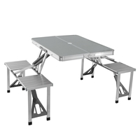 Folding Aluminum Portable Picnic Table And Chair Set Foldable Dining Room Sets HOT SALE
