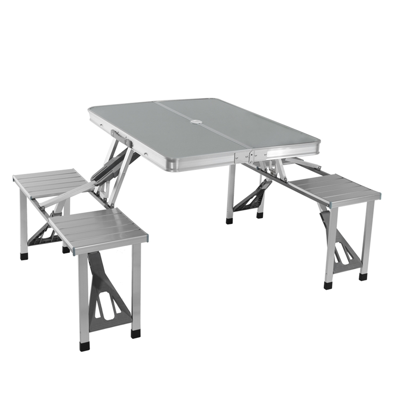 Picnic Table Dining Room Sets: Folding Aluminum Portable Picnic Table And Chair Set
