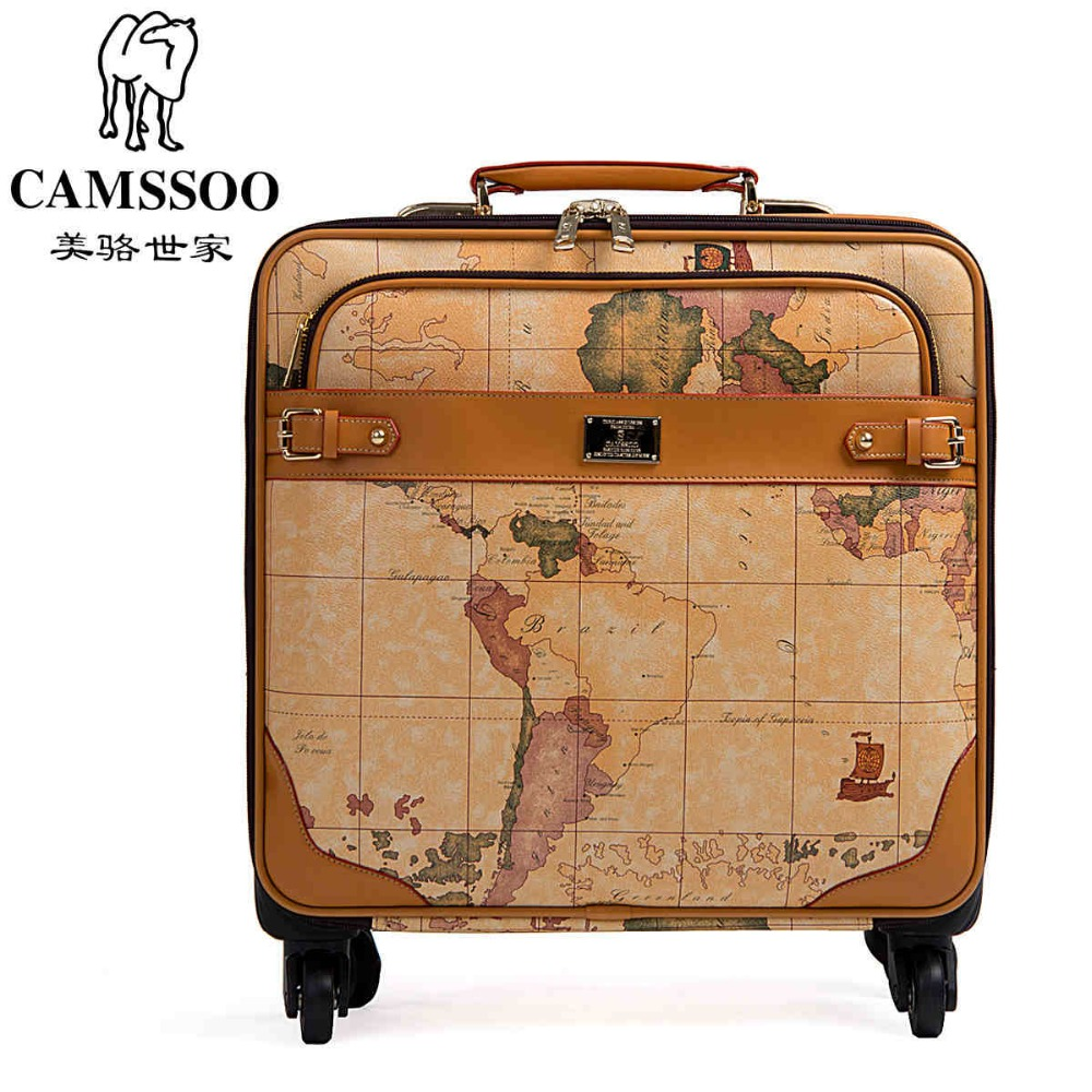 New fashion!Female/male vintage world map travel luggage bags sets,16 20 22 24inches retro trolley luggage on universal wheel