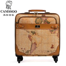 New fashion Female male vintage world map travel luggage bags sets 16 20 22 24inches retro