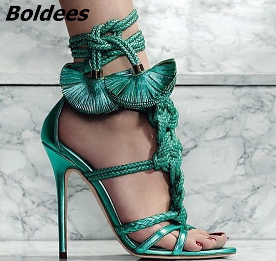 New Trendy Design Brown Rope Fringe Flower Thin High Heels Dress Sandals Women Open Toe Strappy Shoes Fancy Sandals Hot Selling - 3
