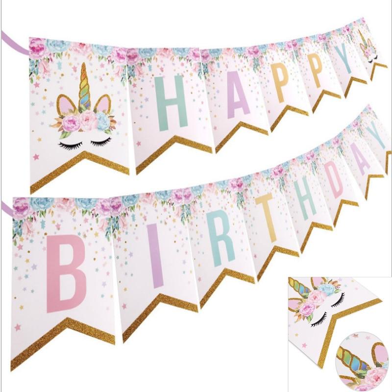 1 комплект баннеры с изображением единорога для вечеринки, дня рождения, 15 шт. Декорации для вечеринки