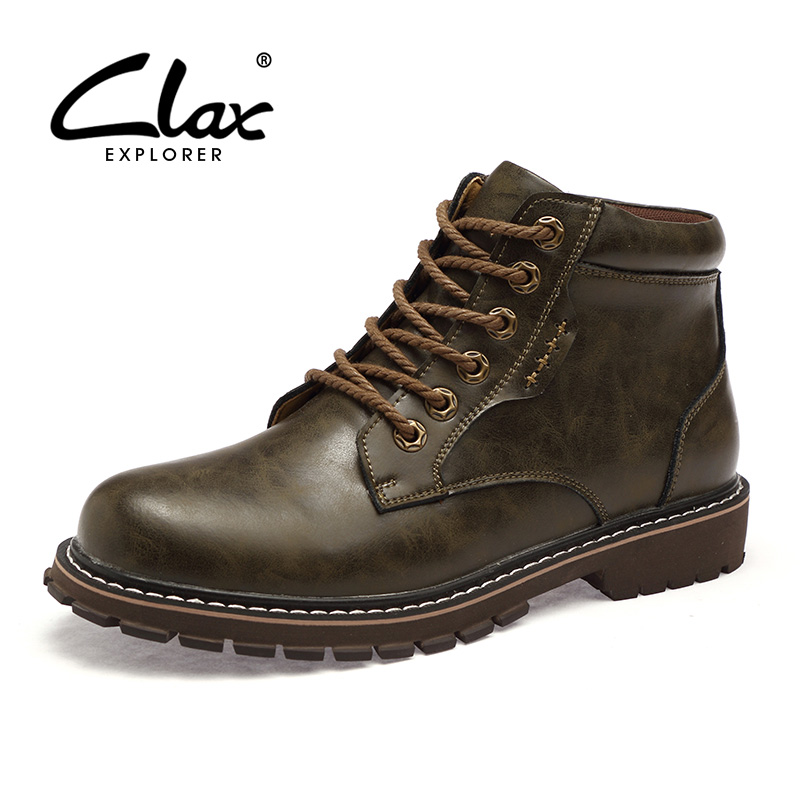 CLAX Men Safety Shoes 2017 Men's Autumn Boots Leather Work Shoe Casual Ankle Boots Winter Footwear Bota Masculina