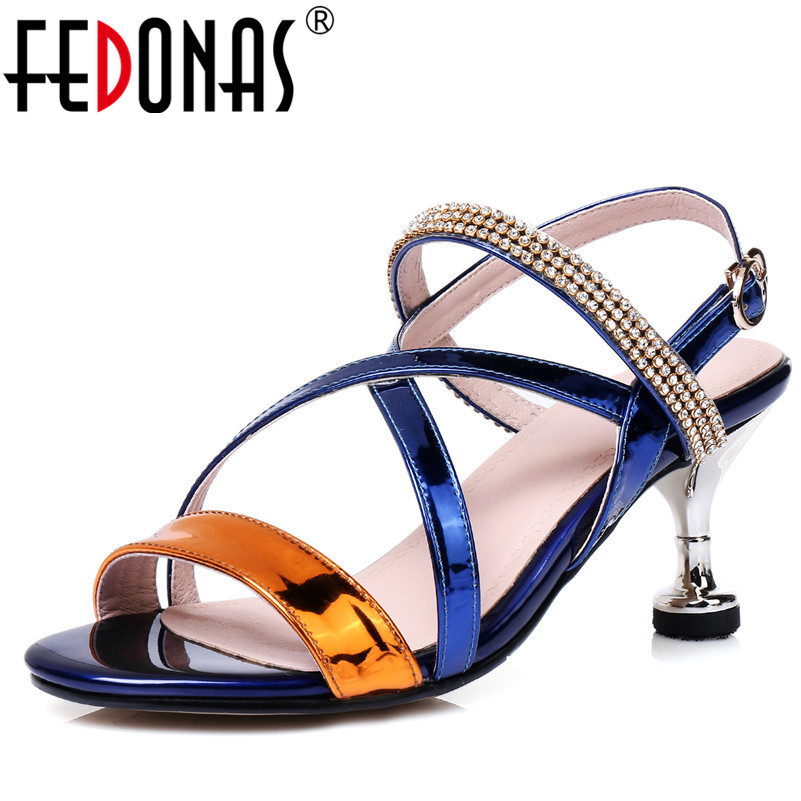 FEDONAS Sexy Women Sandals High Heels Gladiator Rhinestone Cross Tied Fashion Summer Party Female Shoes Woman Wedding Pumps hee grand cross tied women sandals summer sexy square high heels flock wedding shoes woman elegant pumps ladies 3 colors xwz2049