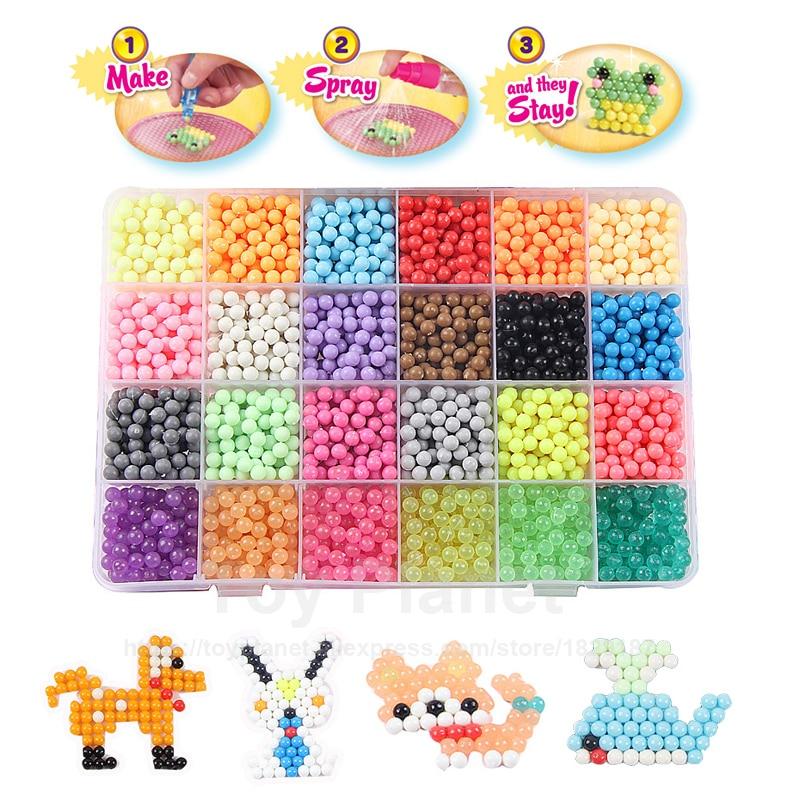 24 Colors 3400pcs 5mm Perler Beads Set With Accessories Magic Aqua Spray Beads Set Perlen 3D Puzzles Children Educational Toys