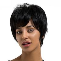 Lady Real Human Hair Black Bob Wig Short Hairpiece with Oblique Bangs Heat Safe
