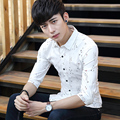 Summer Men Shirts Three Quarter Short Print Half Sleeve Thin Slim 7 Inch Tide Shirt White Light Blue 6003