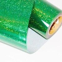 Sunice 50 cm X 100 cm jasny zielony kolor Hot holograficzny przenikania ciepła winylu naklejki