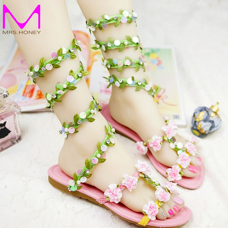 ФОТО 2016 Summer Wedding Sandals Green Leaf and Glitter Sneak Style Women Sandals Flat Heel Beach Shoes Dance Performance Party Shoes