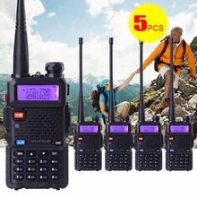 5 pz/lotto baofeng uv5r 5 w dual band vhf/uhf136-174mhz & 400-520 mhz portatile cb ham radio communicator walkie talkie ricetrasmettitore hf