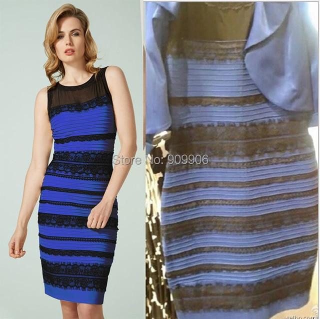 Jurk blauw met zwart of goud met wit