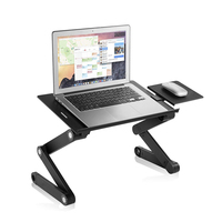 Portable Foldable Laptop Desk Stand Adjustable Standing Desk For Ultrabook, Netbook Or Tablet With USB Cooling Fan Mouse Pad
