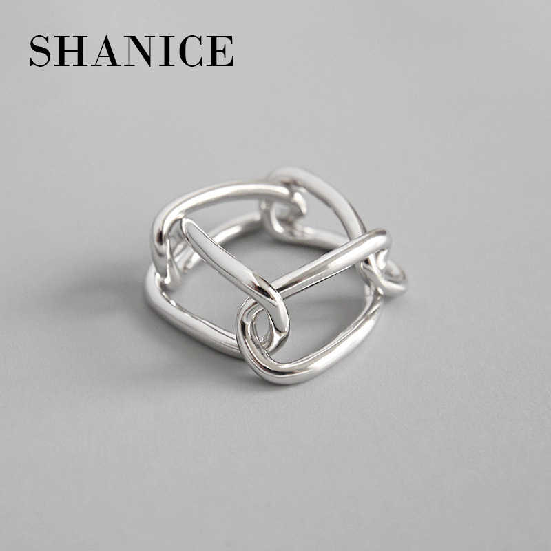 SHANICE  925 Sterling Silver Open Ring For Women Geometry Ins Simple Chain Buckle Sliver Rings Fashion Jewelry For Girl