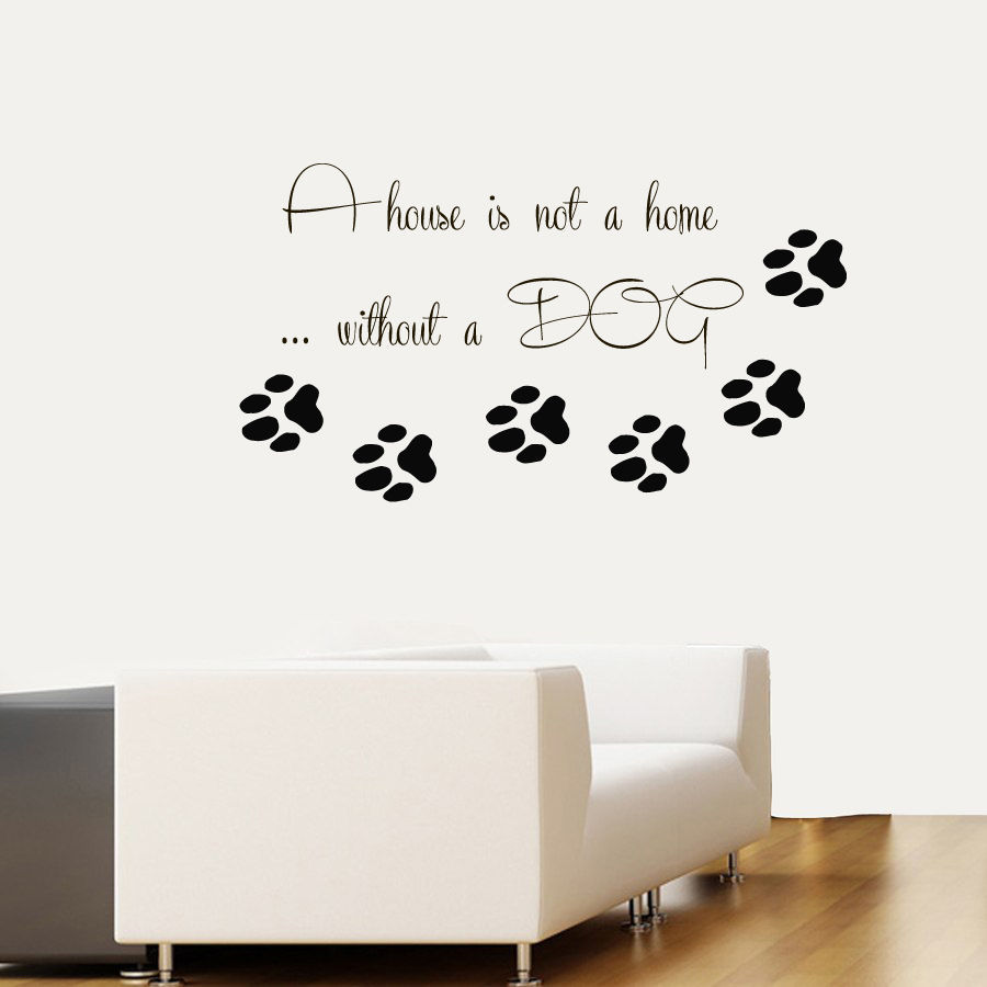 DCTAL Pet Shop Vinyl Wall Decal Dog Quote Paw Prints Pet Home Interior Mural Wall Sticker Pet Salon Room Home Decoration ...
