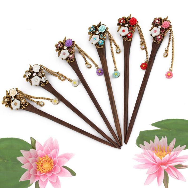 2018 Retro national winds Leaf shape natural Phoebe zhennan Zircon Hair sticks Chinese style Fashion jewelry For women nmfz-014