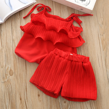 Girls Clothes Sets Summer Tracksuit For Girl Baby Fashion Chiffon Clothing Set Kids Vest Shorts Suit Strap Cute Top 2 piece 3yrs недорого