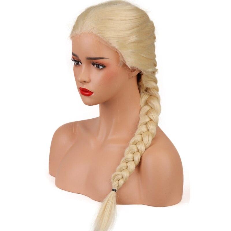 Longo Natural Peruca Loira Dianteira Do Laço Sintético Para As Mulheres Brancas de Alta Temperatura Único Tranças de Fibra Peruca de Cabelo Reto de seda