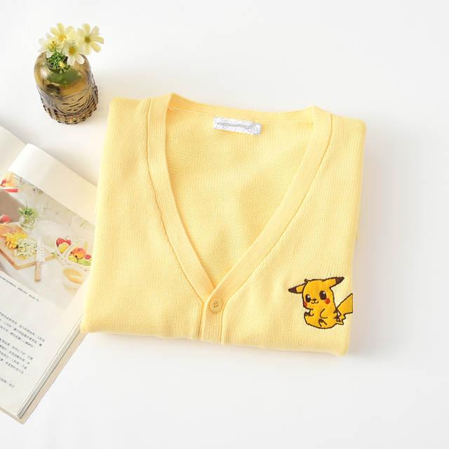 Aodmoe Autumn Women Fresh Yellow Japan style Cute Pikachu Comics Sweater  Knitwear Cartoon Korea JK Girls Sweet Casual Cardigans 4e90bfc2f