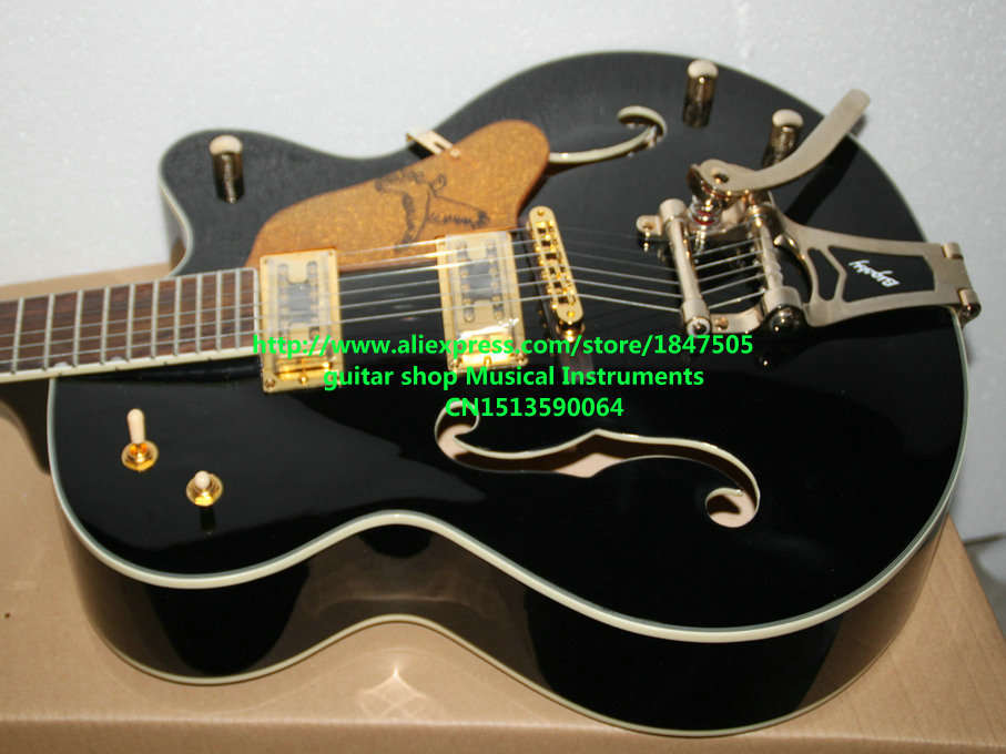 New Arrival Black Falcon 6120 Hollow Jazz Guitar with Bigbys Top Musical instruments free shipping newest g6129 white falcon jazz guitar with bigbys high quality free shipping