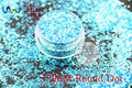 TCR11  American Fantasy Iridescent Blue color glitter dust Round Dot  Shape  for nail Art or other DIY decoration