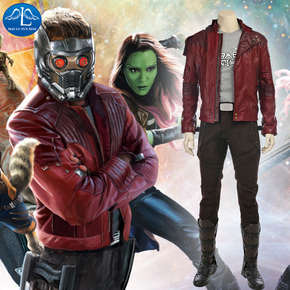 MANLUYUNXIAO Strážci galaxie 2 Cosplay kostým Star Lord Cosplay kostým Plný oblek Peter Quill Cosplay Custom Made