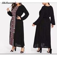Plus Size 4xl Vintage Long Sundress Women Black Floral Dress Summer Autumn Casual Loose Oversize VestidoS Long Sleeve Maxi Dress