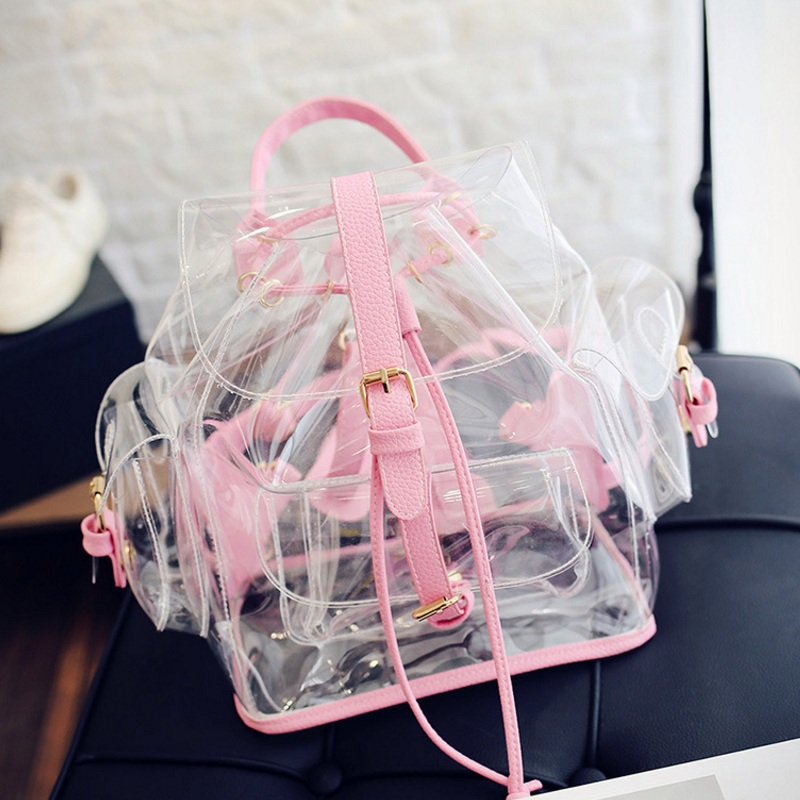 цена на Summer Women Transparent Backpack Clear Plastic Travel Mochila Girls PVC School Bags Casual Candy Jelly Shoulder Beach Bag Pink