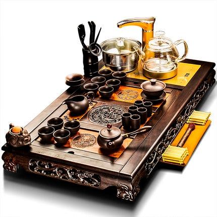 Classical Tea Tray Ebony Solid Wood Tea Set Ceramic Purple Sand Teapot Teacup Set Kung Fu Tea Set Automatic Fast Furnace Home
