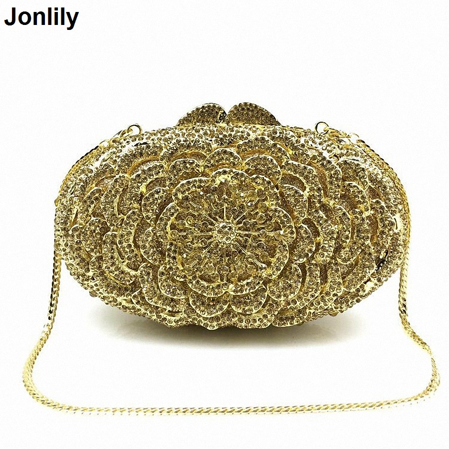 Flower Shape Luxury Crystal Clutch Bags Bling Rhinestone Evening Bags Female Women Evening Clutch Bag Party Bag LI-1567